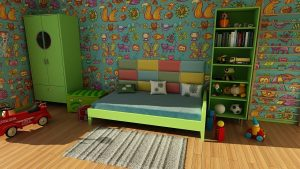 Umzug mit Kinder Jungs Zimmer grün